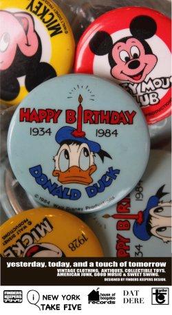"""画像1: DONALD DUCK 1984 """"50TH BIRTHDAY"""" VINTAGE D.STOCK  BUTTON PIN"""